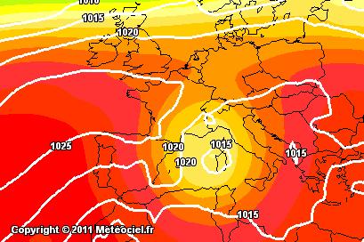 Isolamento della saccatura fredda nel Mediterraneo, Previsioni per Domenica