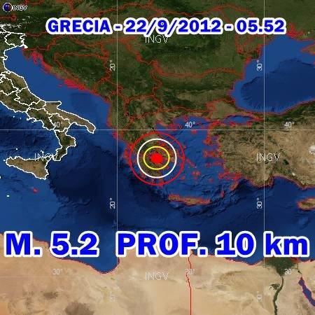 Terremoto Grecia oggi 22 Settembre 2012