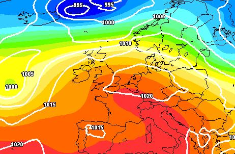 Alta pressione delle Azzorre nel Week-end - Gfs