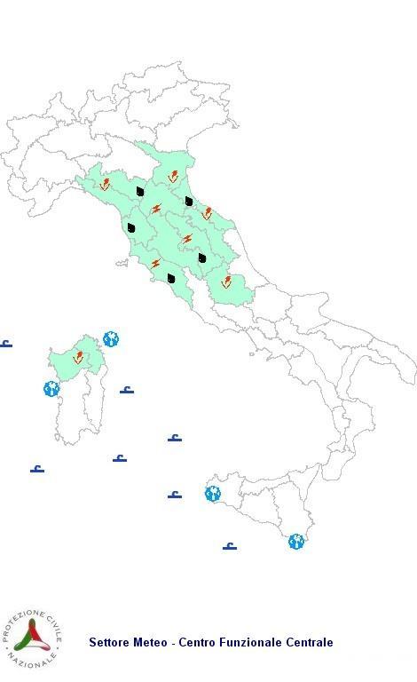 Allerta e previsione meteo della protezione civile per Venerdì 28 Settembre 2012
