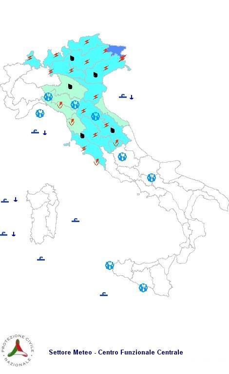 Allerta meteo protezione civile per Giovedì 27 Settembre 2012
