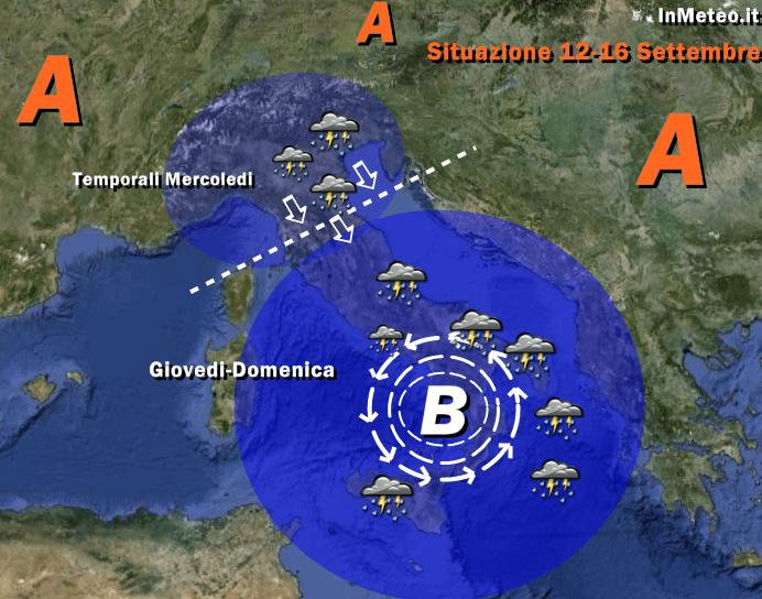 Maltempo in arrivo - Vortice depressionario sullo Ionio e Maltempo fino a Domenica al Sud