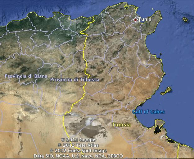 I rilievi tra Tunisi e la provincia di Tébessa hanno innescato un minimo orografico traslato verso Nord Est