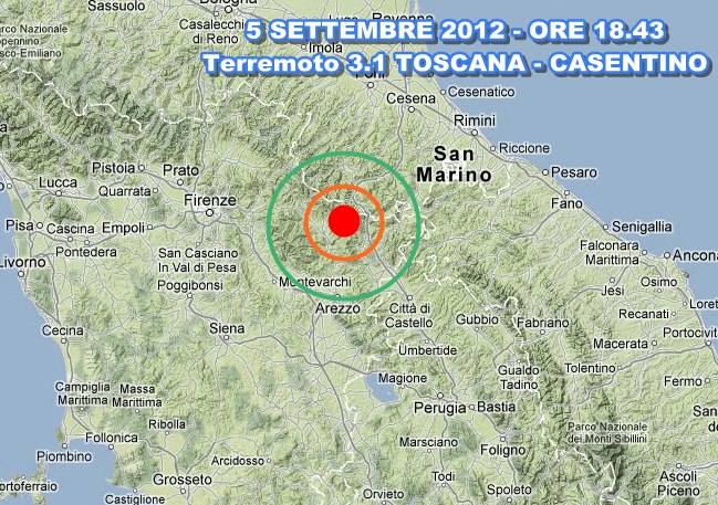 Terremoto Toscana Emilia Romagna oggi 5 Settembre 2012