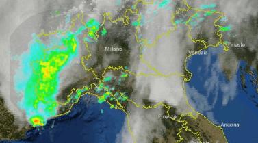 Piemonte maltempo ore 12.30 (24/9/2012) vista dal Radar. Piogge anche intense sui settori occidentali