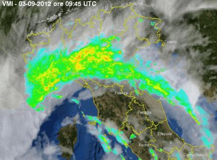 Immagini del Radar offerto dalla Protezione Civile. Maltempo Piemonte Emilia Romagna e Liguria