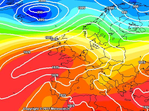 Previsioni Meteo Maltempo Italia, notare la goccia fredda in ritirata verso il non Europa e l'avanzamento dell'Azzorriano verso la nostra Penisola - GFS