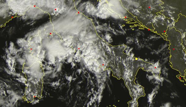 Situazione ore 13.00 dal Satellite, temporali in risalit averso il Lazio