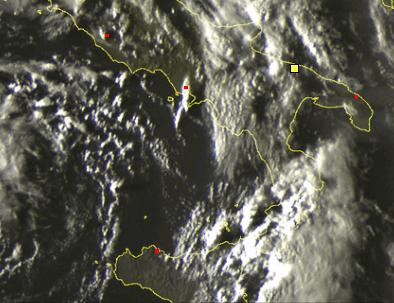 Temporali sul lato orientale della Sicilia visti dal Satellite