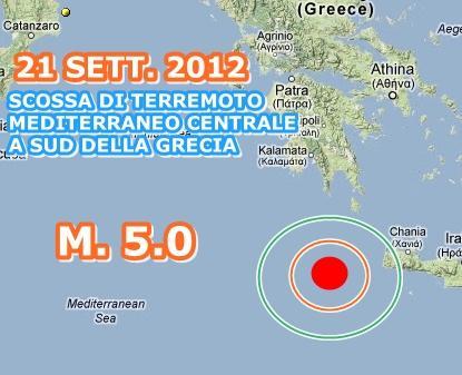 Forte terremoto mar Mediterraneo oggi 21 Settembre 2012
