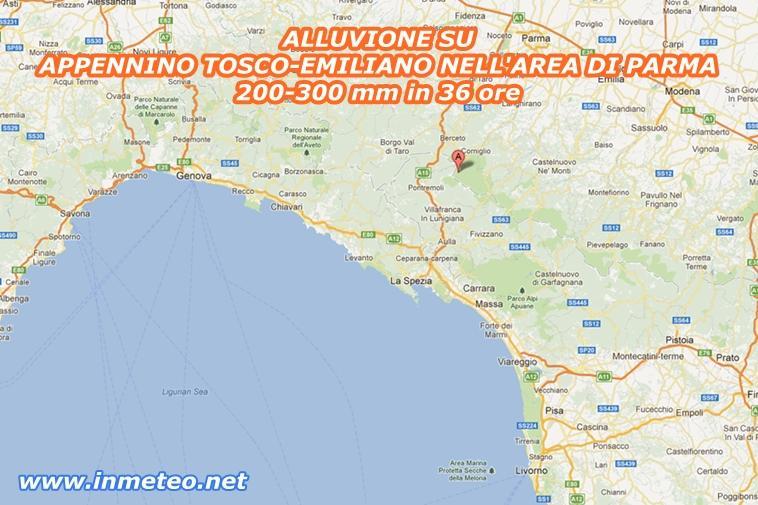 Alluvione Emilia Romagna - oltre 300 mm caduti sull'Appennino tosco-emiliano in poche ore