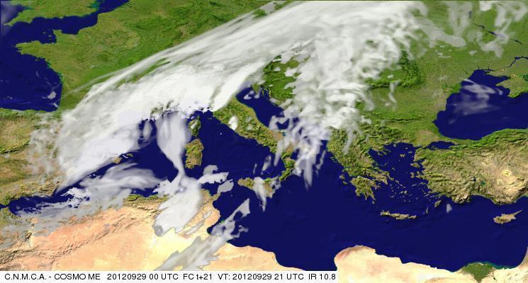 Previsioni meteo Aeronautica militare 29 Settembre 2012