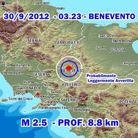 Terremoto Benevento Oggi 30 Settembre 2012