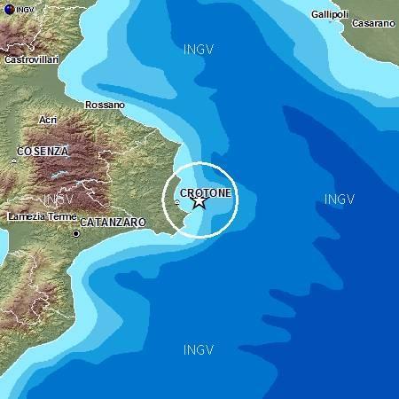 Terremoto Calabria oggi 5 Settembre 2012- epicentro in mare a pochi chilometri da Crotone