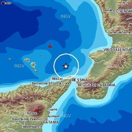 Sciame sismico nel basso Tirreno tra Sicilia e Calabria