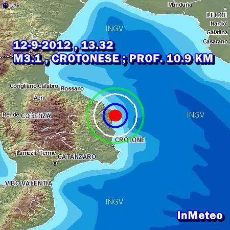 Terremoto Crotone Calabria Mercoledì 12 Settembre 2012