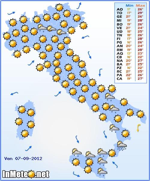 Previsioni Meteo Italia Venerdì 7 Settembre 2012