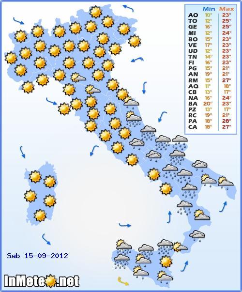 Previsioni Meteo Sabato 15 Settembre 2012