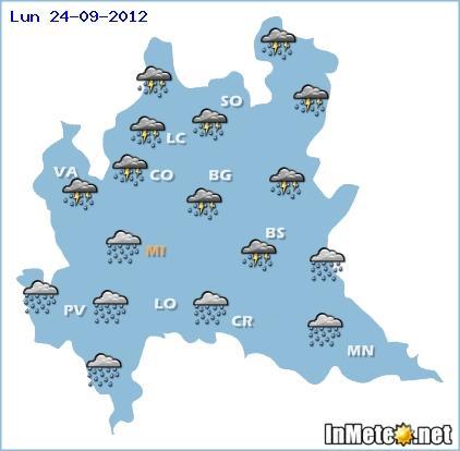 Meteo Lombardia maltempo in arrivo: piogge e temporali Lunedì 24 Settembre