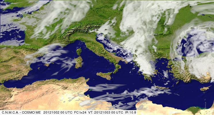 Previsioni Meteo Aeronautica militare Mercoledì 3 Ottobre 2012