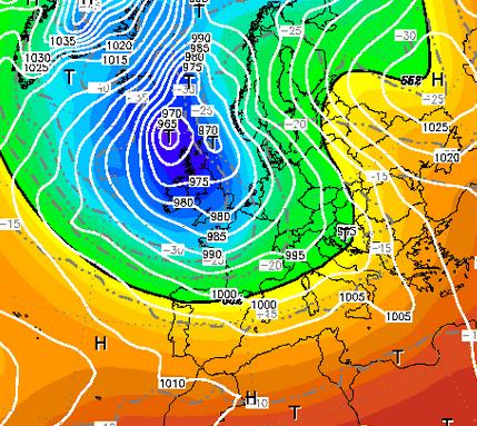 Fonte Wetterzentrale.de - Analisi al Suolo della pressione e geopotenziali a 500 hPa per il 1° Novembre 2012