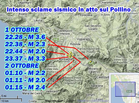 Terremoto Pollino 1-2 Ottobre 2012