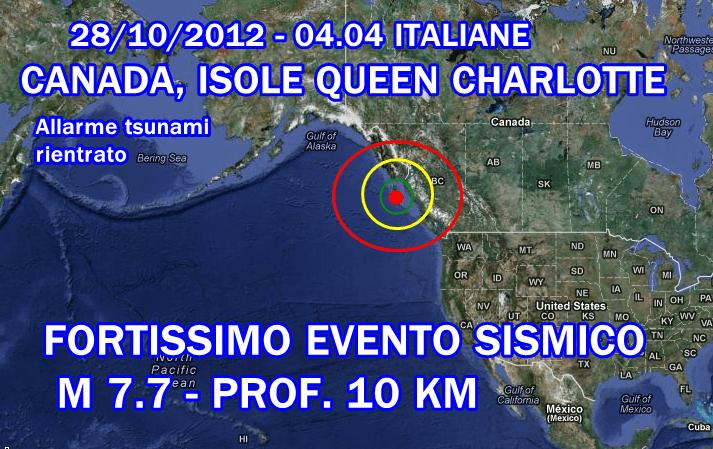 Terremoto Canada Oggi 28 Ottobre 2012