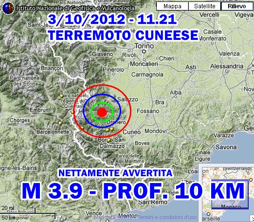 Terremoto Alpi-Piemonte 3 Ottobre 2012