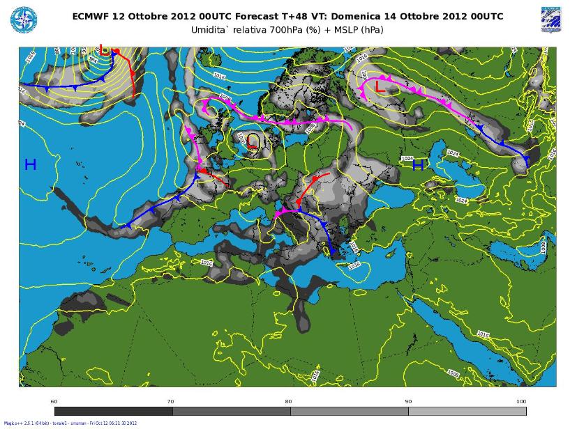 Modello ECMWF elaborazione Meteo Aeronautica Militare meteoam.it situazione fronti previsti per Domenica 14 Ottobre
