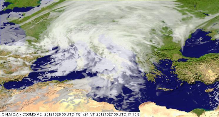 Previsioni Meteo Aeronautica Militare Sabato 27 Ottobre 2012 - previsione della nuvolosità (canale IR 10.8, METEOAM.IT)