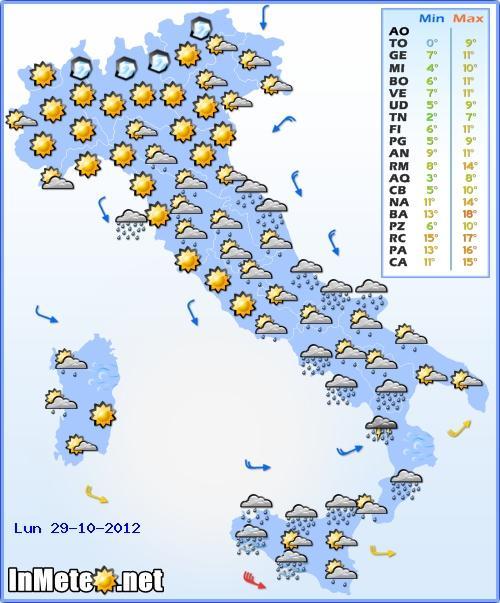 Previsioni Meteo Italia Lunedì 29 Ottobre 2012, freddo invernale sull'Italia, precipitazioni diffuse
