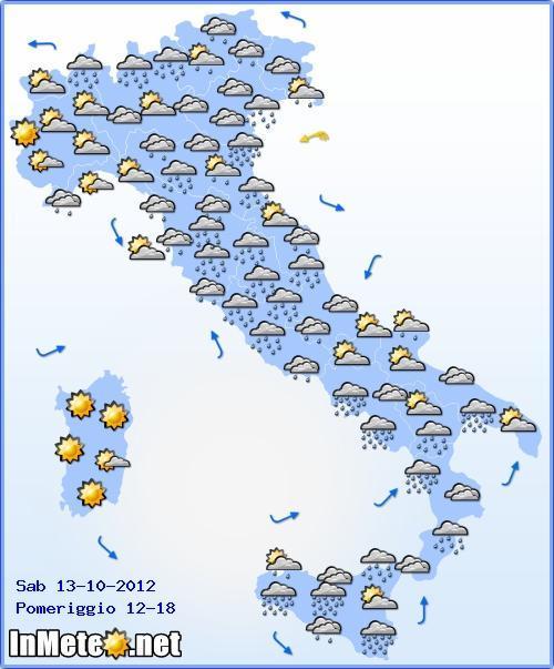 Previsioni Meteo Italia Sabato 13 Ottobre 2012, precipitazioni maggiormente concentrate nel pomeriggio, è importante però seguire gli aggiornamenti meteo