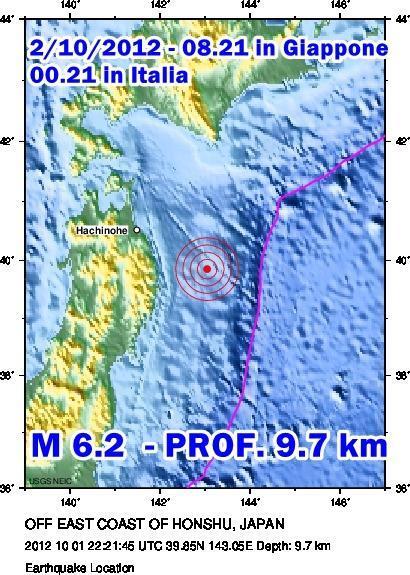Terremoto Giappone 2 Ottobre 2012