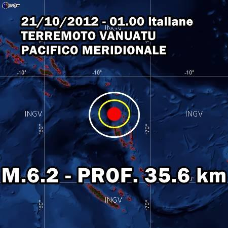 Terremoto Vanuatu oggi 21 Ottobre 2012