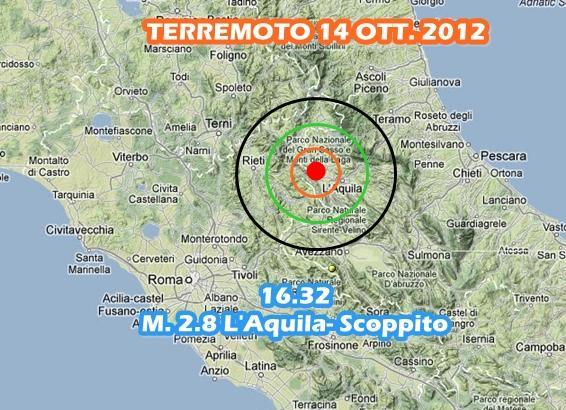 Terremoto L'Aquila-Scoppito oggi 14 Ottobre 2012