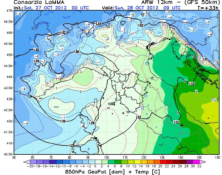 Temperature a 850 hPa secondo il modello WRF - LAMMA TOSCANA