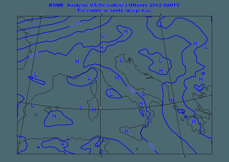 Previsioni meteo Aeronautica Militare domani 4 Ottobre 2012