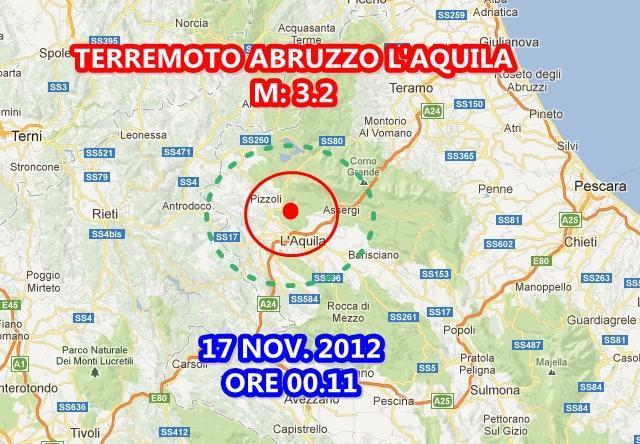 Terremoto oggi 17 Novembre 2012 Abruzzo