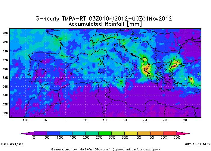 Analisi Precipitazioni sull'Europa nel mese di Ottobre 2012 mediante TRMM