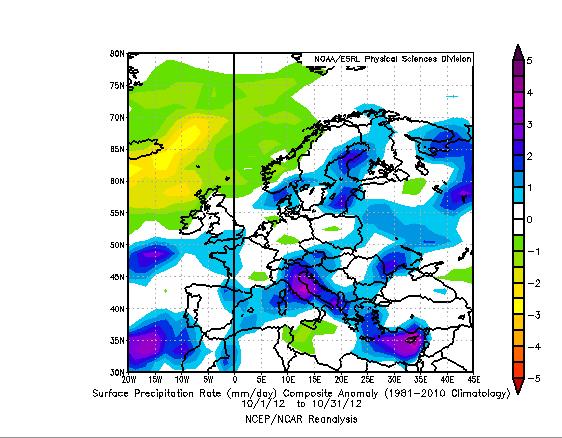 Anomalia di Precipitation Rate giornaliero medio del mese di Ottobre 2012 rispetto al periodo 1981-2010. Precipitazioni sparse e a volte abbondanti sui settori Meridionali e Centro-Orientali