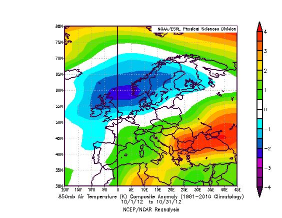 Anomalia termica a 850 hPa rispetto al periodo 1981 - 2010. Anche a questo livello si estende il diplo termico, con una differenza di 6° circa di anomalia in 4-5000 km