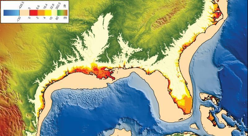 Clima. Cambiamenti futuri e situazione passata del livello degli oceani. (Credit- Map by Emanuel Soeding, Christian-Albrechts University, using NOAA data)