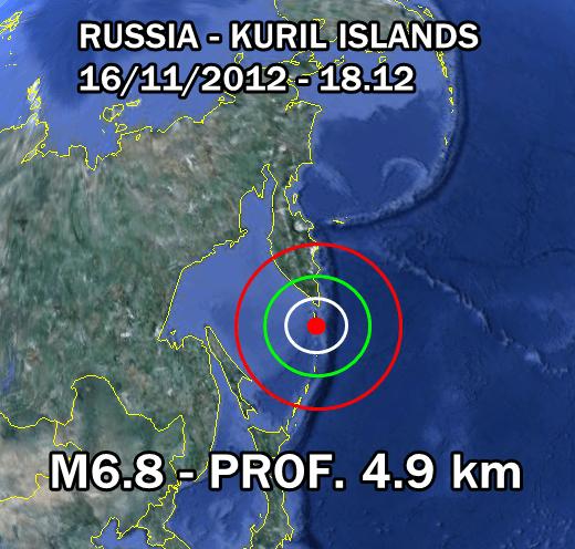 Terremoto oggi Russia 16 Novembre 2012