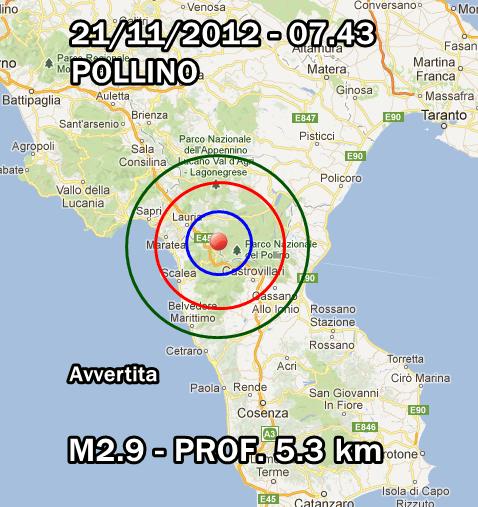 Terremoto Oggi Pollino 21 Novembre 2012