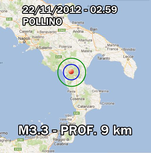 Pollino Terremoto Oggi 22 Novembre 2012