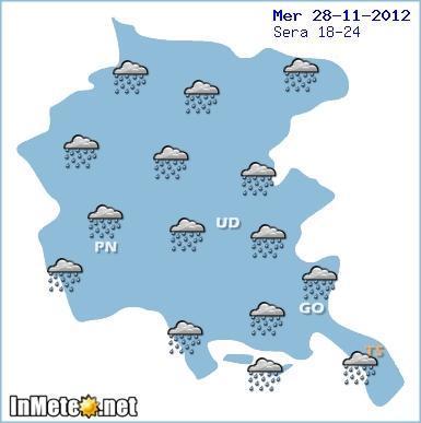 Maltempo Friuli Venezia Giulia, serata ancora con le piogge mercoledi 28 Novembre 2012