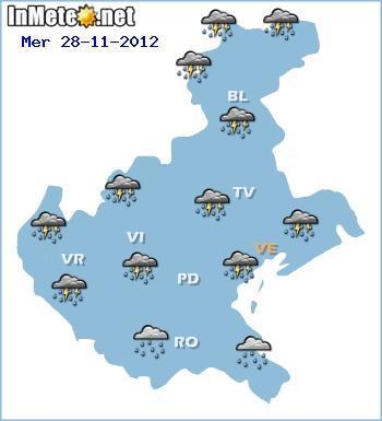 Maltempo Veneto, forti precipitazioni previste per Mercoledì 28 Novembre 2012