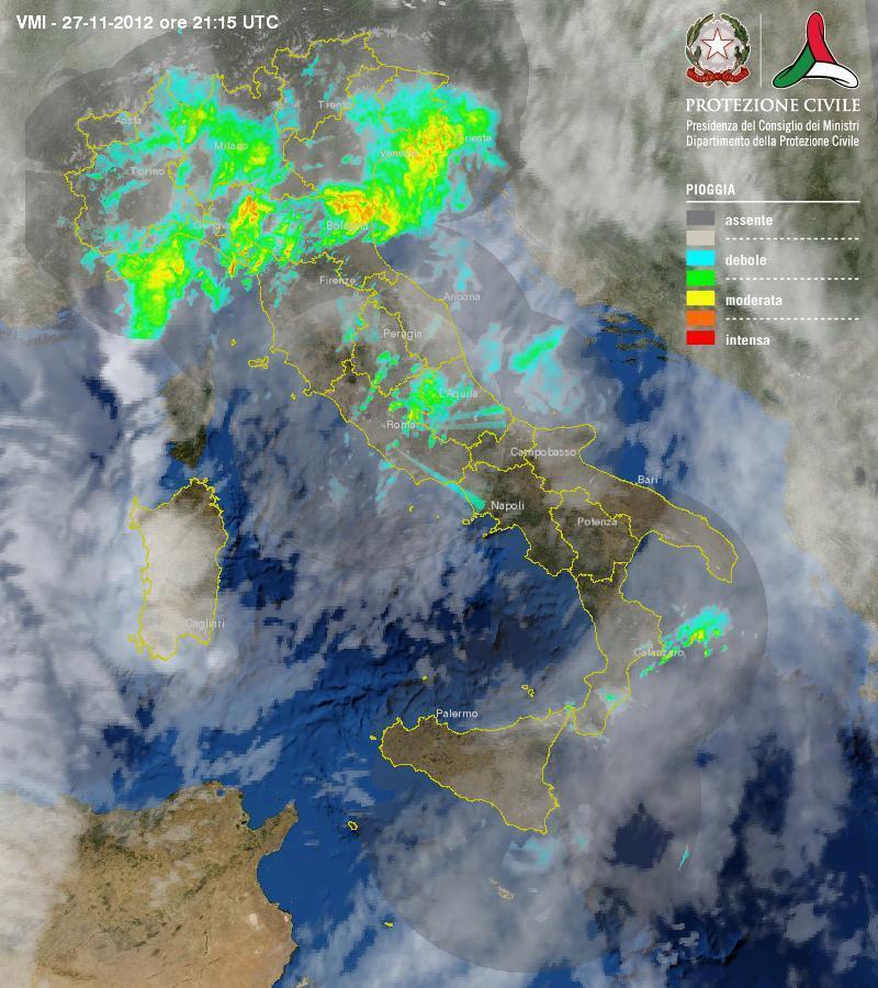 Maltempo, immagine multi-radar della Protezione Civile. Attenzione a Liguria, Emilia Romagna e Veneto