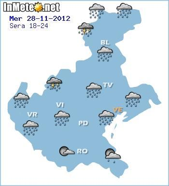Maltempo in Veneto, ancora piogge forti in serata 28 Novembre 2012
