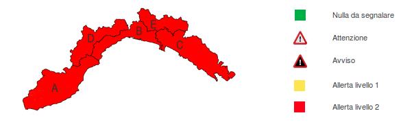 Mappa di Allerta Meteo sulla Liguria 10 Novembre 2012 - copyright ARPAL.GOV
